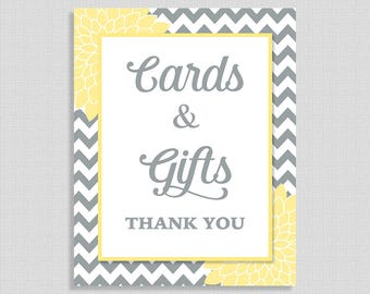 Cards and Gifts Sign, Yellow & Grey Baby Shower Gift Table Sign, Floral Mums, Neutral, INSTANT PRINTABLE