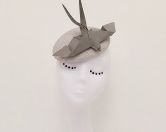 Grace : Silver grey button hat with silk origami swallow available in 18 colours. Fascinator, statement, wedding, races