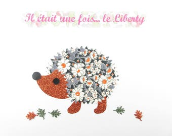 Applied fusible Hedgehog liberty Alice gray & glitter flex fusible patterns liberty applique patch Hedgehog patch iron on