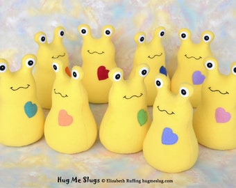 Custom Stuffed Slug, Handmade Stuffed Animal Plush Kids Baby Art Toy, Hug Me Slug, Personalized Tag, Yellow Fleece, Choice of Heart, 9 inch
