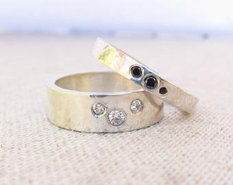 Diamond Ring - Birthstone Jewelry - Silver Wedding Band - Diamond Band - Personalized Ring