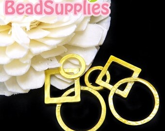 CH-ME-02081- Matted gold plated, Interlocking circles & square, 4 pcs