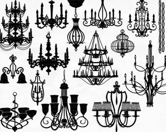 Chandelier Clip Art,  PNG Silhouettes & Photoshop Brushes - Chic Baroque Graphics - Clip Art for Wedding Invites, Stationery