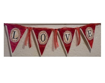 Valentine LOVE Pennant Banner PDF Pattern - primitive old vintage Love ribbon red