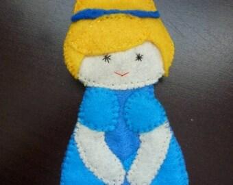 Princess Cinderella felt finger puppet