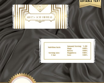 Printable Great Gatsby Art Deco Candy Bar Wrapper, White and Gold, Gatsby Party Decoration, Digital File, EDITABLE text - DOWNLOAD Instantly