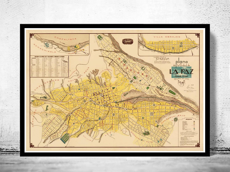 Mapa antiguo de La Paz Bolivia