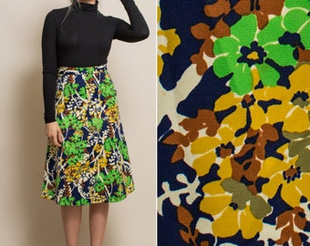 Floral skirt- Vintage 70s a line COLORFUL high waist knee length 1970s BOHO hippie skirt