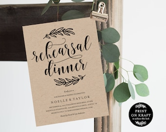 Editable Template - Instant Download Rustic Rehearsal Dinner Invitation
