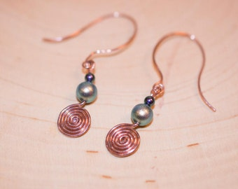Copper and Swarovski Pearl Hammered Earrings
