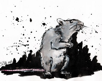 Rat painting - 8x12in ink painting on canvas roll  - rodent painting