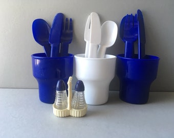 Vintage Ingrid Plastic Picnicware - set of 3 cups, cutlery and salt and pepper caddy