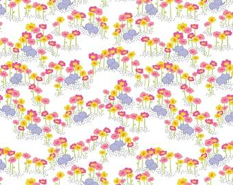 Baby Elephants Fabric - Pygmy Elephants Pink by Katy Tanis - The Sundaland Jungle Collection - Blend Fabrics - One Yard Fabric