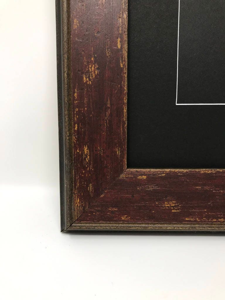 18x24 2.25 Red Country Farmhouse Solid Wood Picture Frame with White ...