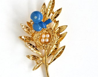 Rare Vintage Trifari Blue Bird Trembler Pin