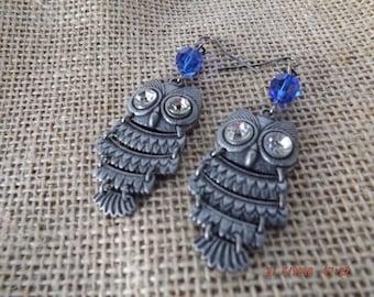 Owl Earrings, Boho Earrings, Funky Earrings, Dangle Earring, Drop Earring