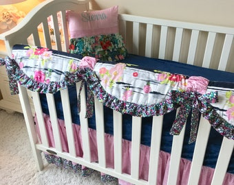 Navy Floral Bumperless Bedding, Baby Pink Bumperless Crib Bedding, Navy Floral Baby Bedding, Pink and Navy Crib Rail Cover, Pink Bedding