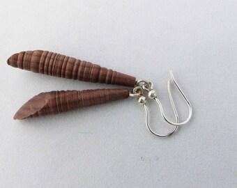 """""""Turned"""", wood pernambouk streaked, unique earrings. gastyne workshop"""