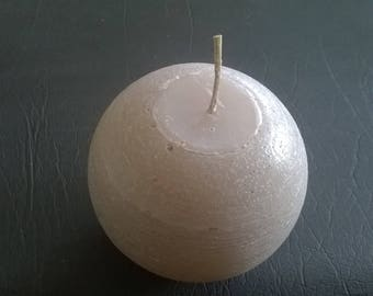 233) large round ball candle color taupe