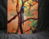 Glass Cutting Board Large - Blue Dragonfly - 12 in x 15 in