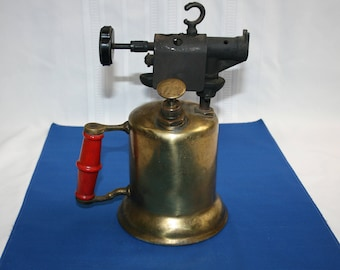 Vintage Turner Brass Works model 30AT Blow Torch with Label and Heat Shield Collectible Memorabilia Metalware Tools Steampunk Crafts