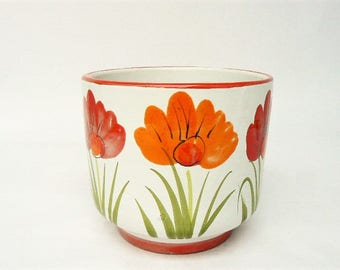 """Ceramic Pot Planter Vase - Orange and Red Flower Themed Pottery - Glazed inside and out for use as a herb planter / flower vase 5"""" x 4 1/2"""""""