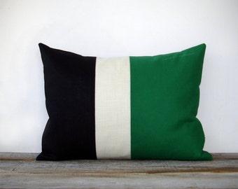 Emerald Colorblock Stripe Pillow in Cream and Black Linen by JillianReneDecor Modern Home Decor Color Preppy Kelly Green