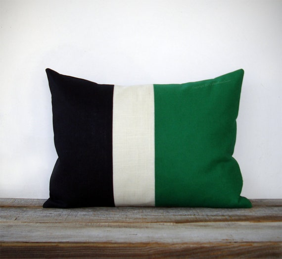 Emerald Colorblock Stripe Pillow In Cream And Black Linen By