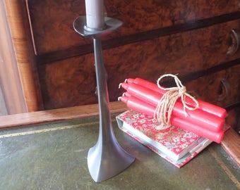 Vintage Pewter Danish Candlestick, Modernist, Mid century candle holder, Denmark