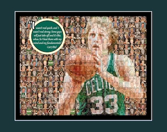Larry Bird Picture Mosaic Print Art Using 50 Player images of Larry.