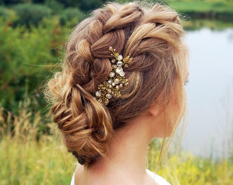 Gold bridal hair pin- Wedding crystal hair pin -Bridal hair piece- Wedding headpiece- crystal hair pins - Hair pin bridal -hair pin for prom