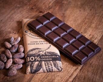 Craft Chocolate 80% Single Origin, Venezuela, Vegan Dairy Free Dark