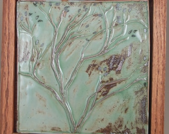Graceful Winter Tree Tile with Celadon Glaze and Oxides