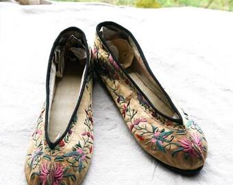 antique 1920's chinese slipper shoes