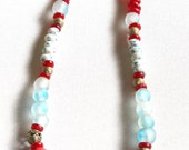 Red Krobo Bead Necklace, ...