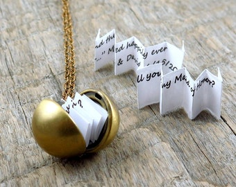 Secret Message Necklace, Ball Locket Necklace, Mother's Day Gift, Proposal Jewelry, Graduation Date Necklace, Wedding Date