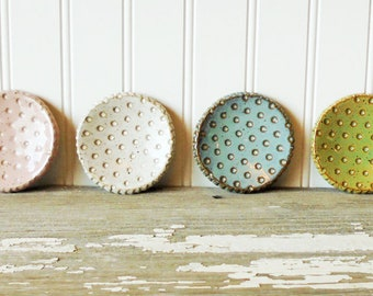 Polka Dot Pottery Dish - Candy Dots - Pastel - Tea Plate - Incense Cone - Ring Dish - Jewelry Dish - Tea Spoon Rest - Wedding Favor - Retro