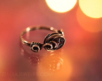 Copper Wire Wrap Ring Boho Style with Purple Czech Glass Bead. Size 8 Copper Wire Swirls & Loops Amethyst Color February Birthstone Ring