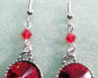 Clear Red Swarovski Rivoli Earrings