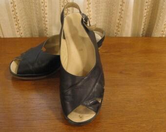 "sale!!!Vintage Black Slingback, T-strap Sandals, Cork 2 1/2 ""Heels, Open Toe, Comfortable Retro Granny Style, Elegant Slingback by Fulvia"