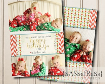 Happy Holidays To You--Christmas Card Template for Adobe Photoshop, Photographer Template, Instant Download, DIY, Commercial Use