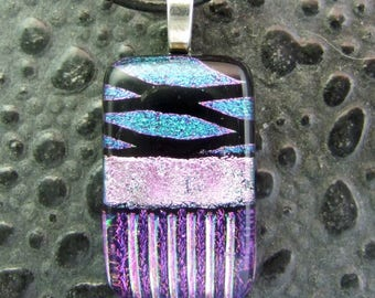 Cobalt Crush Dichroic Pendant, Handmade Fused Glass Jewelry from North Carolina