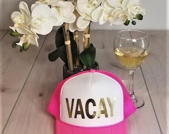 Vacay Mode Hat.  Vacay Hat. Vacay Glitter Hat.  Baseball and Trucker Hat