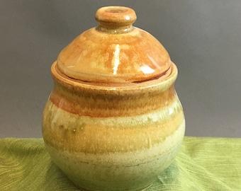 Beth Thornton Green&Nutmeg Lidded Pot