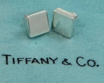 Authentic Tiffany & Co. Square Blocks Sterling Silver Pierced Earrings