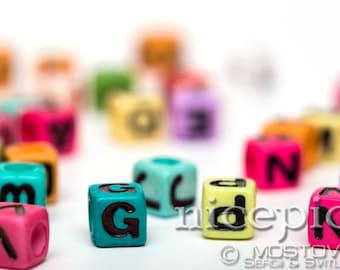 Cubes with letters abstract nursery children downloadable digital art print