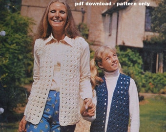 Vintage knitting pattern pdf download mother daughter patterned waistcoats pattern only pdf 1970s