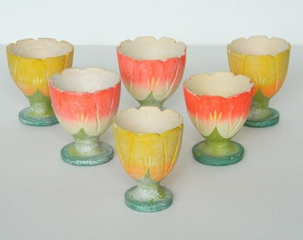 Indonesian Bali Hand Carved Orange and Yellow Painted Egg Holders Vintage set of 6