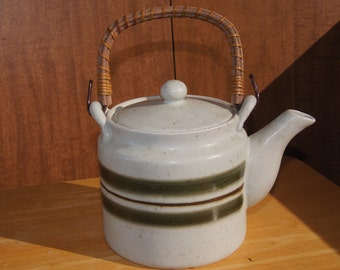 Tea pot, Otagiri Original, Japan, bamboo handle, green and brown stripes, with subtle dot and squiggly line pattern