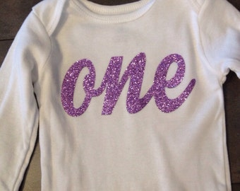Baby lavender one bodysuit, lavender one bodysuit, ships in one business day